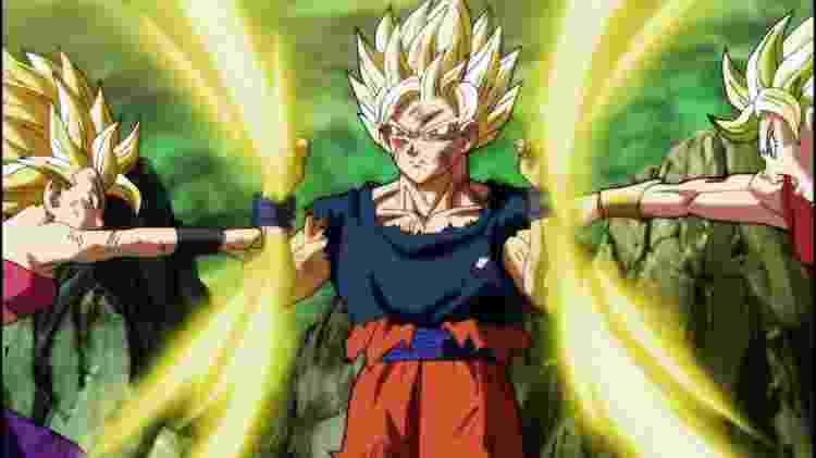 Adversárias ou alunas? Goku optou por treinar Kale e Caulifla e faz isso se impondo sem, em nenhum momento, ser arrogante - Reprodução