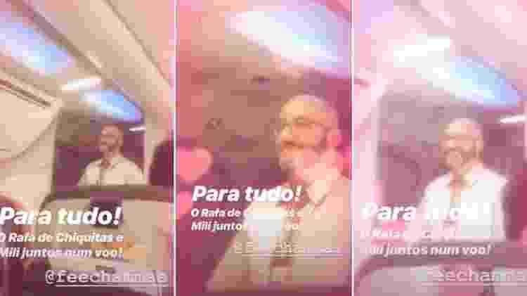 Fernanda Souza encontra ex-Chiquitito que virou comissário de bordo em voo