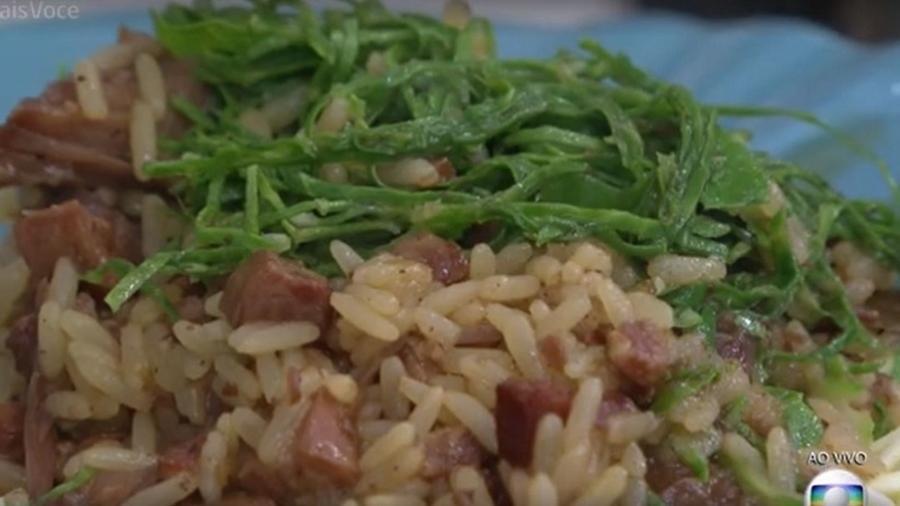Arroz Caldoso tem cachaça como ingrediente, é feito em 2h30 e rende até 6 porções - Reprodução/TV Globo
