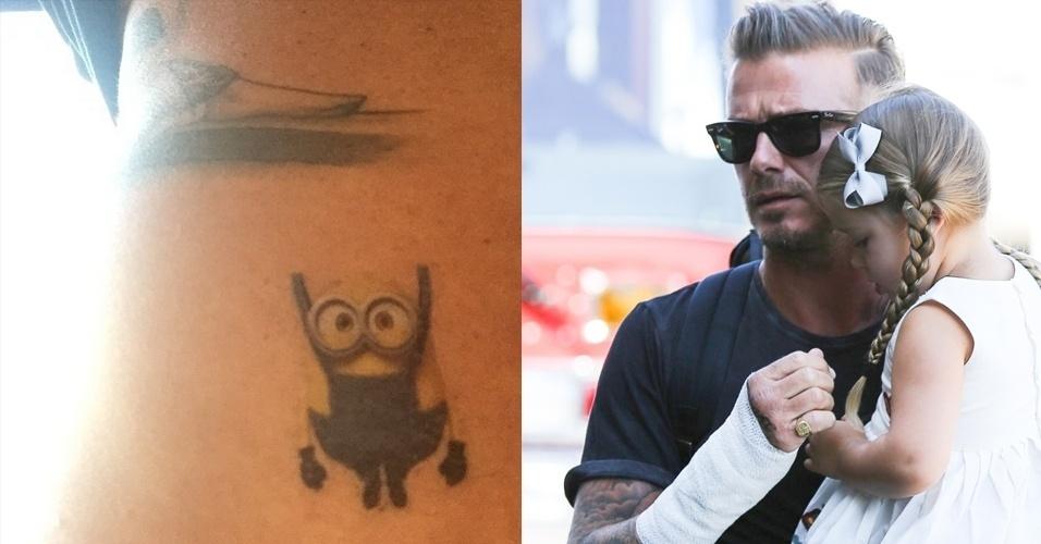 30.jun.2015 - David Beckham não resistiu aos apelos da filha caçula -- a pequena Harper Seven, de três anos -- e fez uma tatuagem do personagem Minion. Os personagens ficaram conhecidos no filme