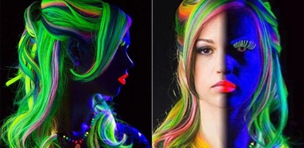 Modelo usa tinta para cabelo que brilha no escuro - Reprodução/Instagram@misheledimariadesigns