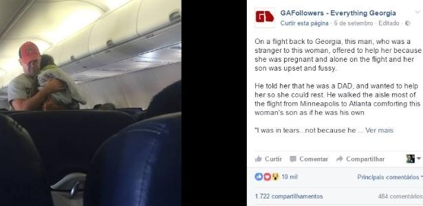 A foto do homem acalmando a criança viralizou nas redes sociais - GAFollowers/Facebook