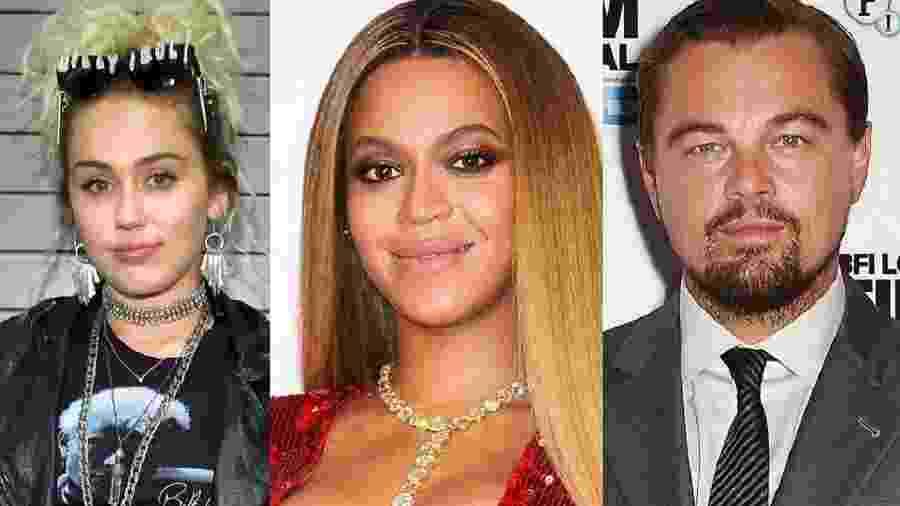 Miley Cyrus, Beyoncé e Leonardo DiCaprio - Getty Images/Montagem
