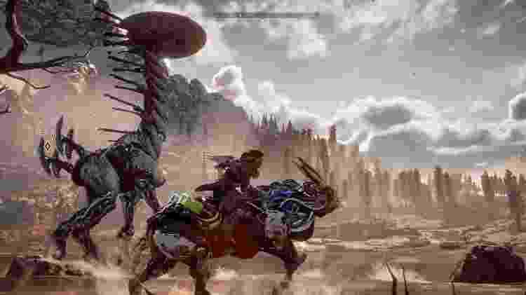 """""""Horizon: Zero Dawn"""" é um jogo de ação e aventura em um futuro dominado por dinossauros-robôs. - Divulgação"""