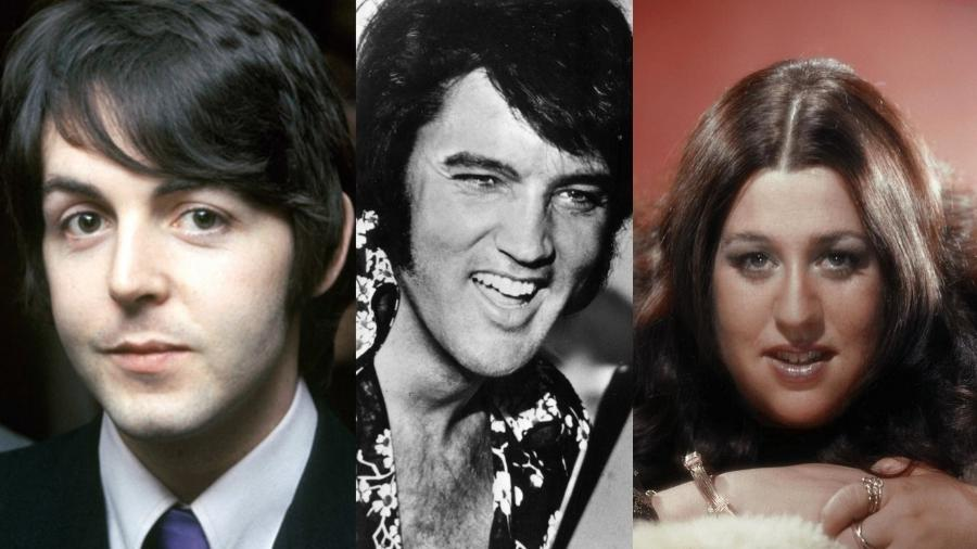 Paul McCartney, Elvis Presley e Mama Cass - Reprodução/Montagem