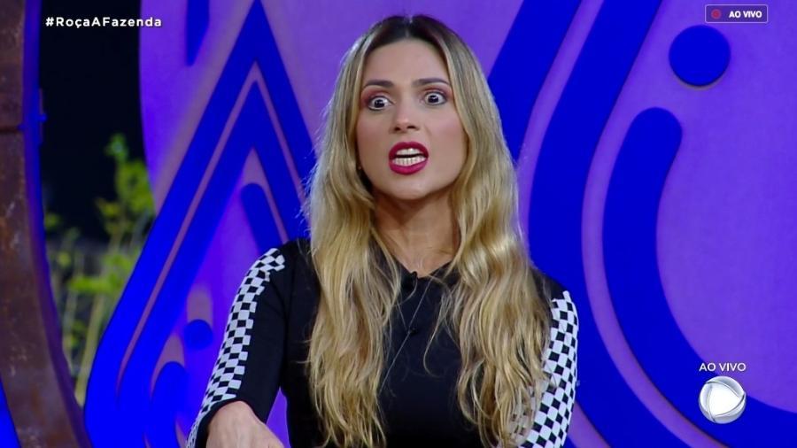 Nadja Pessoa discute com com Felipe Sertanejo durante intervalo do programa  - Reprodução/RecordTV
