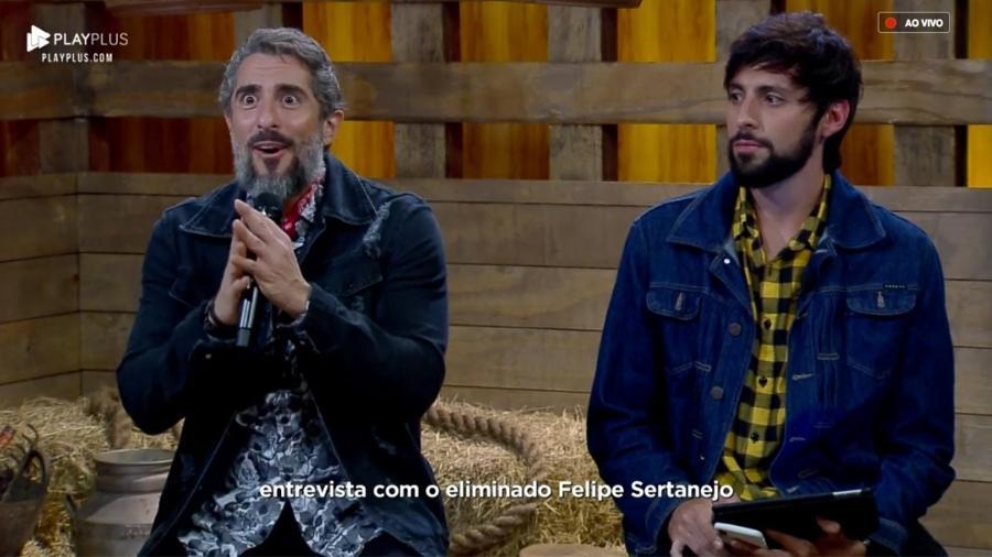 Marcos Mion entrevista Felipe Sertanejo depois da décima primeira roça  - Reprodução/PlayPlus