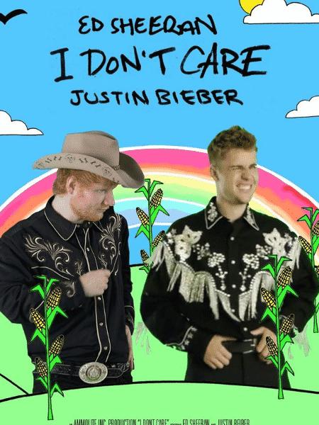 """Ed Sheeran e Justin Bieber na arte do clipe """"I Don""""t Care"""" - Reprodução/Instagram"""