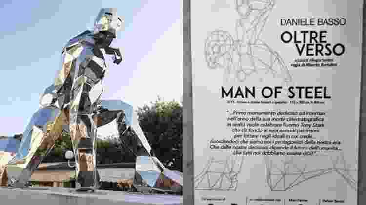 Escultura do Homem de Ferro virou atração da pacata cidade de Forte dei Marmi, na Itália - Reprodução/Twitter