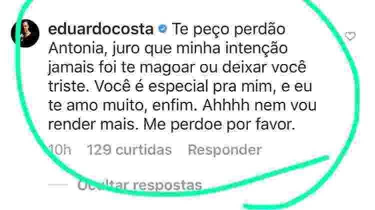 Eduardo Costa pede perdão à Antonia Fontenelle após dizer no programa de Danilo Gentili que pegou ela - Reprodução/Instagram