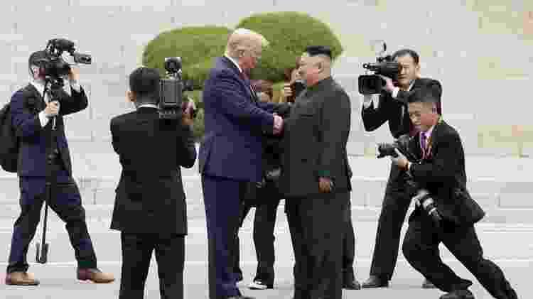 Donald Trump esteve com Kim Jong-un na zona desmilitarizada que separa as duas Coreias neste ano - Reuters