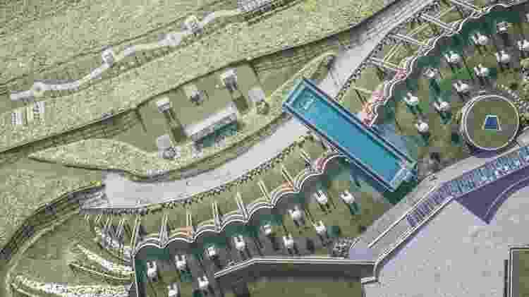Vista área da Sky Pool, no Alpin Panorama Hotel Hubertus, na Itália - Divulgação