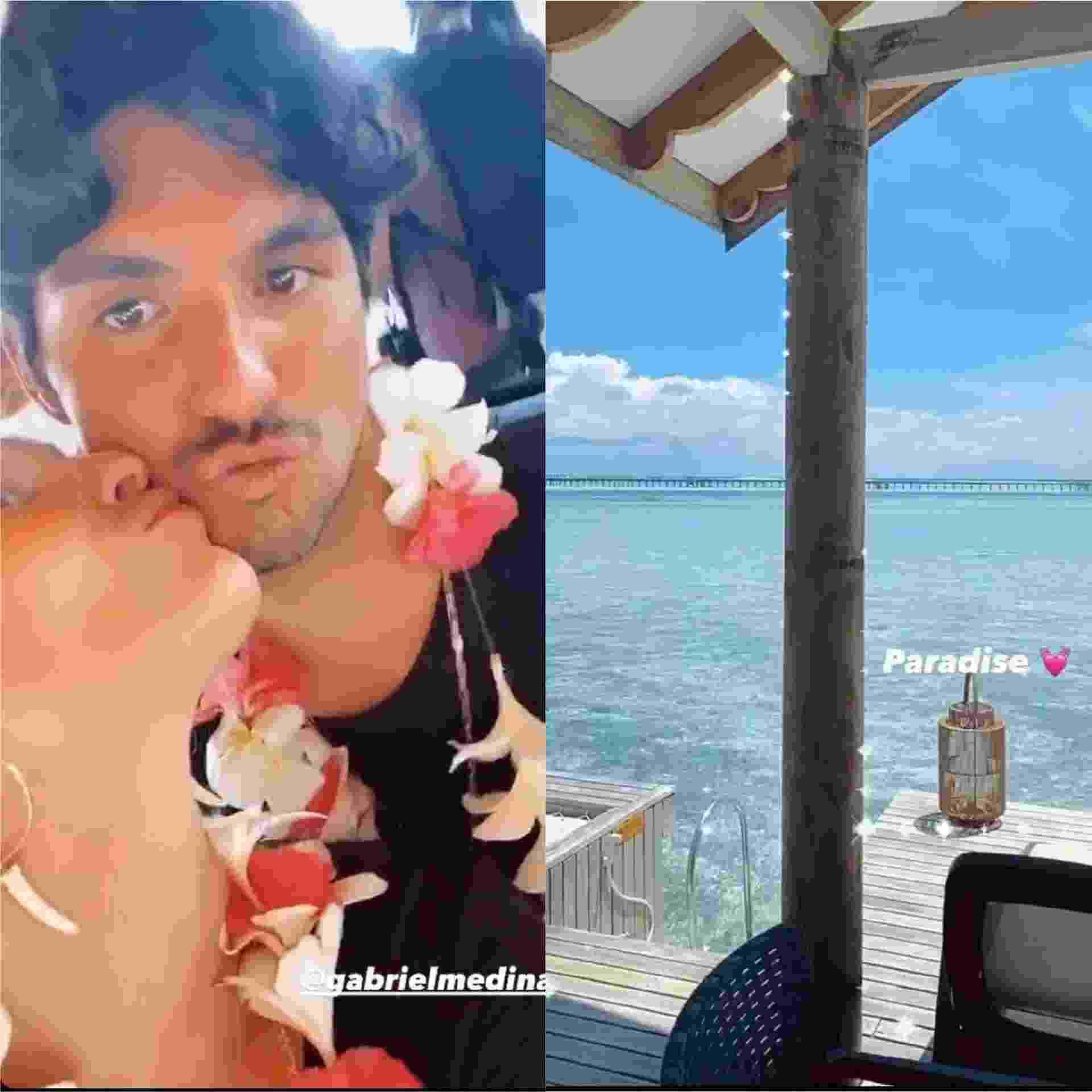 Yasmin Brunet e Gabriel Medina curtem destino paradisíaco - Reprodução / Instagram