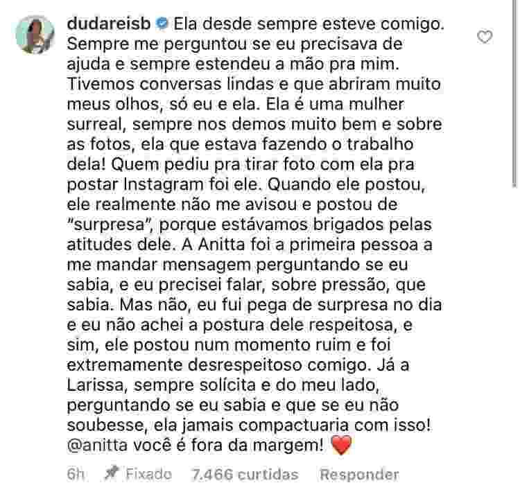 Duda Reis defende Anitta - Reprodução/Instagram - Reprodução/Instagram