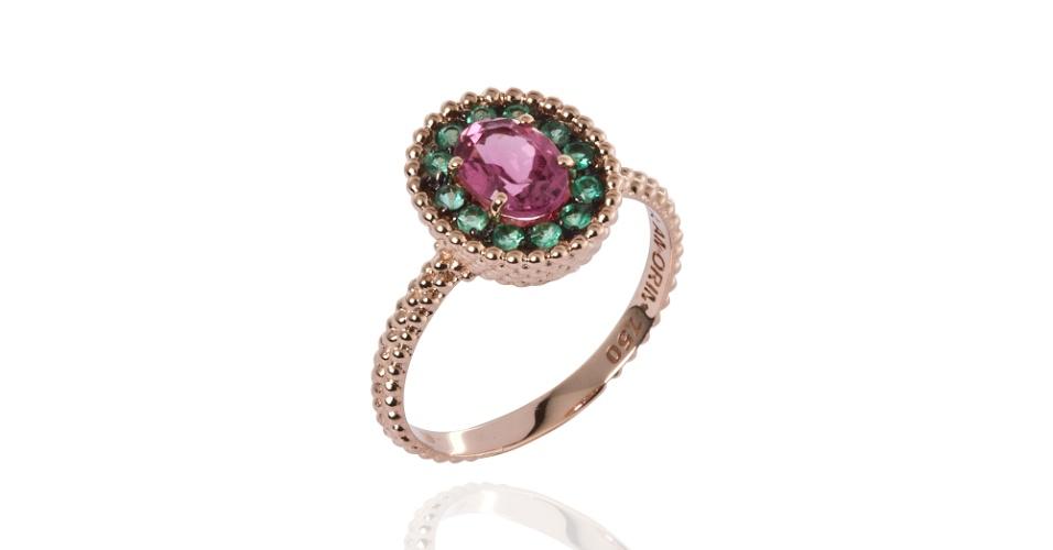 936828634ac Anel em ouro rosé com esmeraldas e turmalina rosa