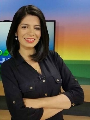 A jornalista Priscilla Sampaio, da TV Morena, afiliada da Globo no Mato Grosso do Sul