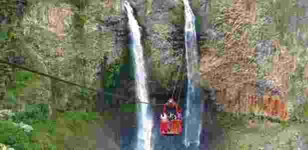 Na Ruta de las Cascadas, em Banõs, um teleférico levam os turistas para bem perto da cachoeira Manto de la Novia - Felipe Floresti/UOL - Felipe Floresti/UOL