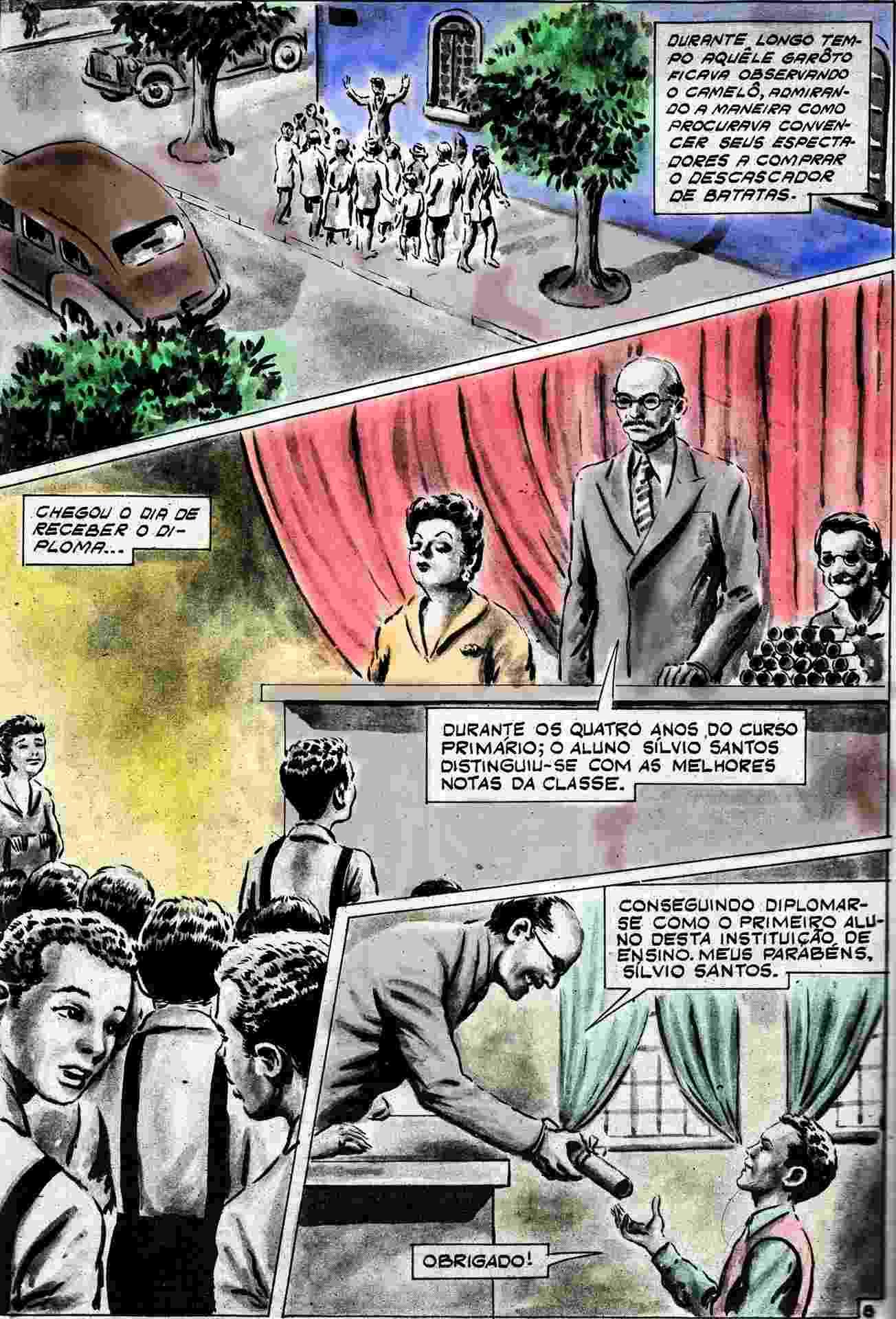 """Imagem da HQ """"Sílvio Santos: Vida, Luta e Glória"""" que foi restaurada e será relançada em 2017 - Divulgação"""