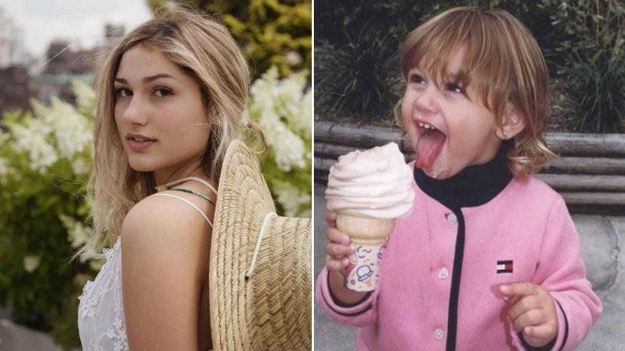 Sasha atualmente, com 19 anos, e ainda criança - Reprodução/Instagram