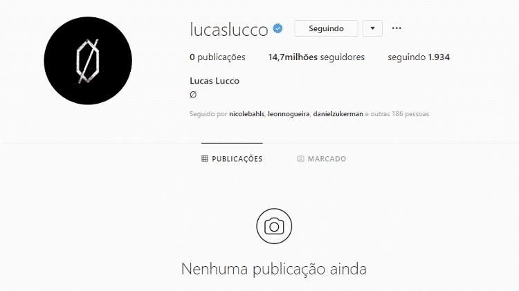 Lucas Lucco deleta todas as fotos do Instagram sem explicação