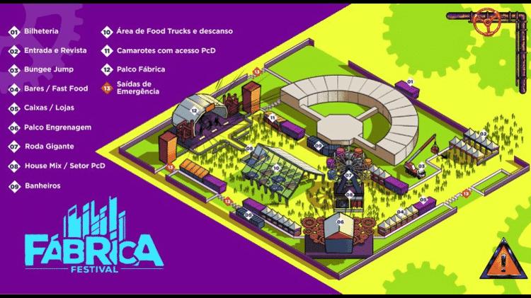 Mapa do Fábrica Festival - Reprodução - Reprodução