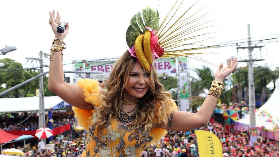 A cantora Elba Ramalho durante o 41º desfile do Bloco Galo da Madrugada no ano passado - Marlon Costa/Futura Press/Estadão Conteúdo