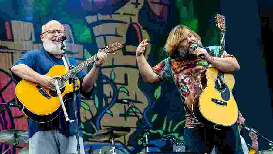 Kyle Gass e Jack Black, do Tenacious D, em show no Lollapalooza Chicago - Josh Brasted/FilmMagic