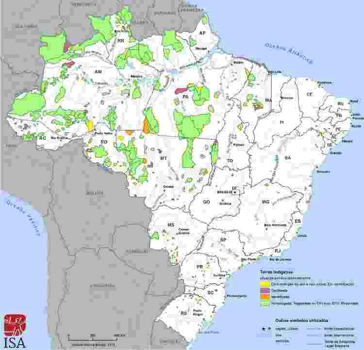 Terras indígenas no Brasil - Mapa: Instituto Socioambiental - Mapa: Instituto Socioambiental