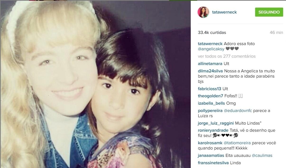 26.jun.2015 - Na manhã desta sexta-feira (26), Tatá Werneck publicou uma foto antiga em que aparece ao lado de Angélica.