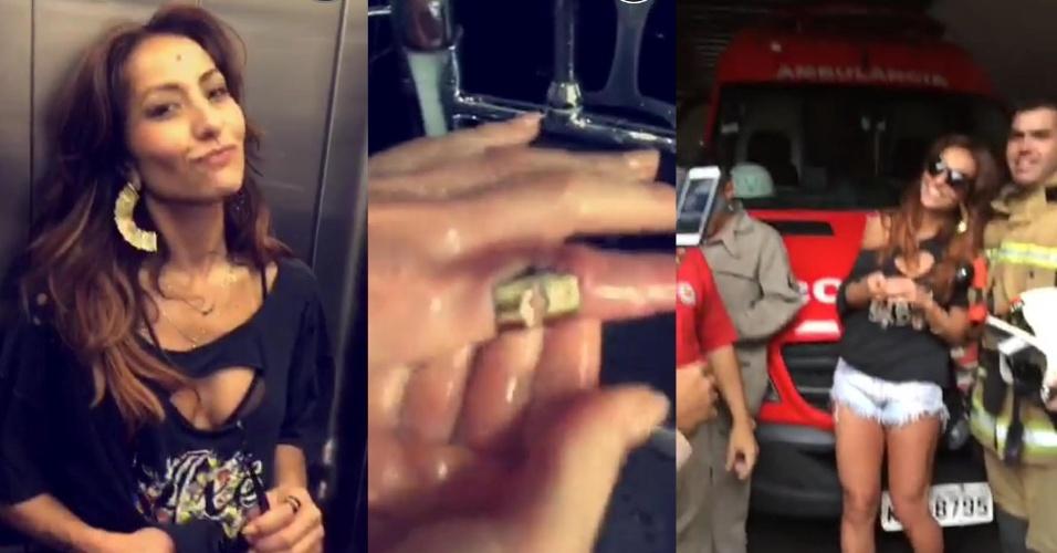Sabrina Sato vai até os bombeiros retirar anel preso no dedo