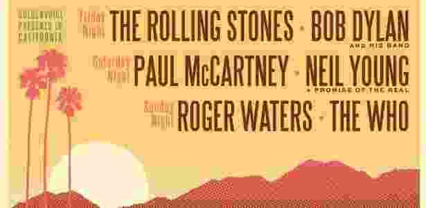 O anúncio oficial do Desert Trip Festival que vai reunir as lendas do Rock na Califórnia - Divulgação