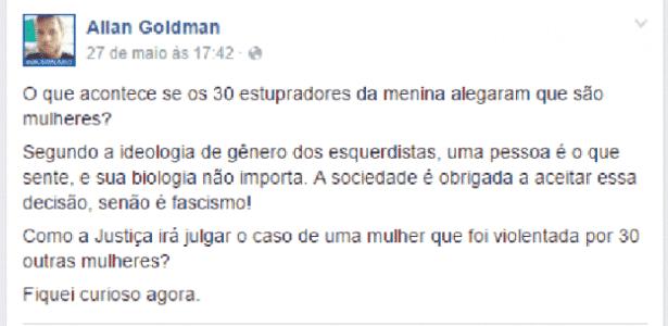 Comentário do desenhista Allan Goldman sobre estupro coletivo - Reprodução/Facebook/Allan Goldman - Reprodução/Facebook/Allan Goldman