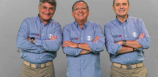 Cléber Machado, Galvão Bueno e Luís Roberto, o time de narradores da Globo na Copa