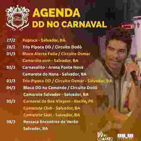 Agenda do cantor Denny Denan no Carnaval de Salvador - Reprodução/Facebook