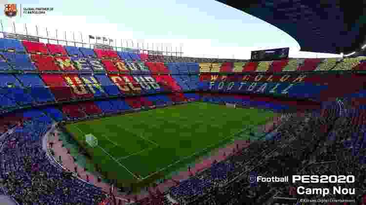 Camp Nou, do Barcelona, é um dos destaques. Brasil comparece com São Januário, Arena Corinthians, Allianz Parque, Palestra Itália, Beira-Rio, Vila Belmiro, Toca da Raposa III, Morumbi e Maracanã - Divulgação