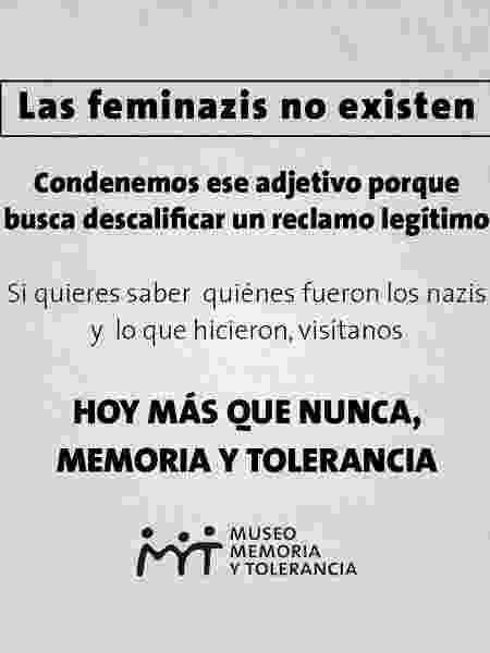 Campanha de museu mexicano contra termo pejorativo utilizado contra feministas - Reprodução
