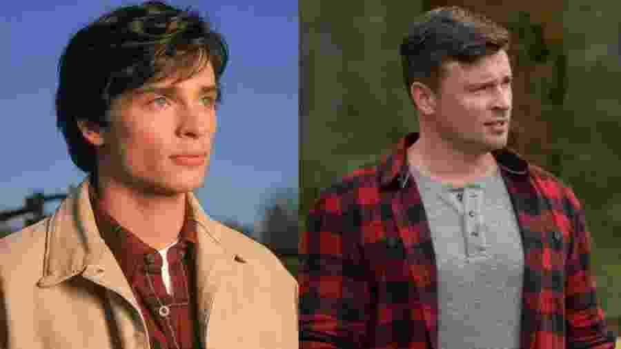 Tom Welling em Smallville e no episódio de Crise nas Infinitas Terras que você não vai ver - Montagem/Reprodução