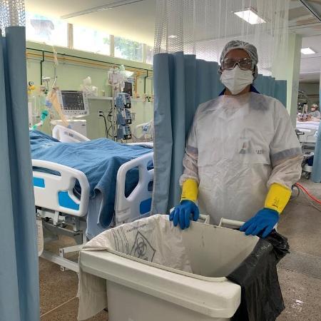 Edna Melo é funcionária da limpeza de UTI no Hospital Geral do Estado em Maceió (AL) - Divulgação/Hospital Geral do Estado