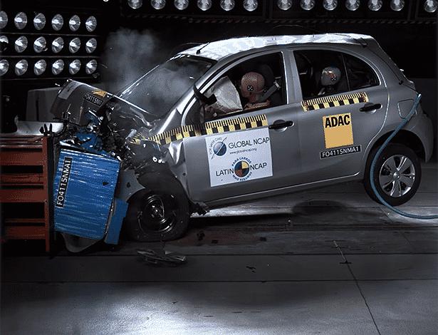 Nissan March latin NCAP - Reprodução
