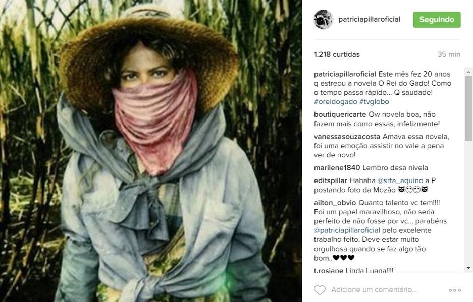 """20.jun.2016 - Patrícia Pillar relembrou que há 20 anos surgia na tela da TV uma de suas personagens mais marcantes Luana, de """"O Rei do Gado""""."""