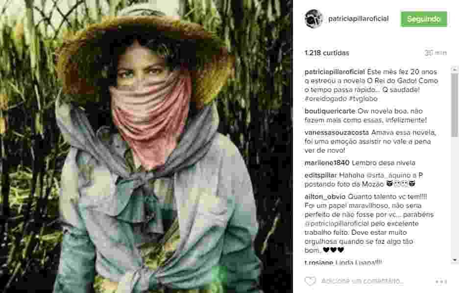 """20.jun.2016 - Patrícia Pillar relembrou que há 20 anos surgia na tela da TV uma de suas personagens mais marcantes Luana, de """"O Rei do Gado"""". - Reprodução/Instagram patriciapillaroficial"""