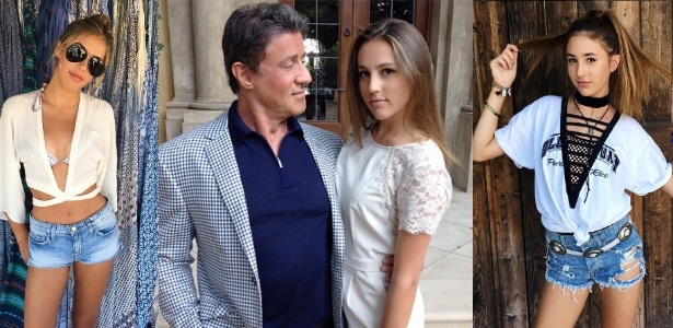 Sylvester Stallone e as filhas Sistine, Sophia e Scarlet - Reprodução/Instagram