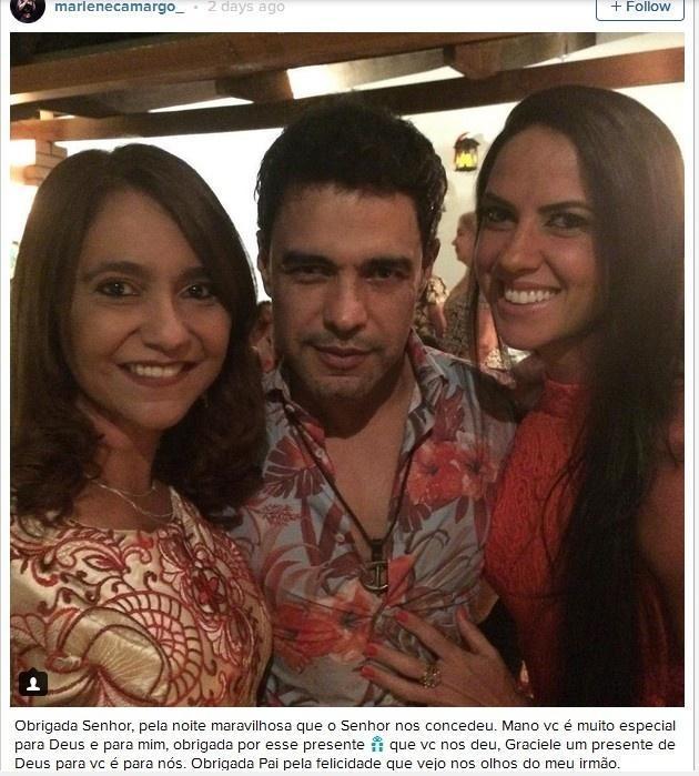 Irmã de Zezé di Camargo publica post elogiando Graciele Lacerda e coloca mais fogo na briga entre o cantor e a ex-mulher Zilú