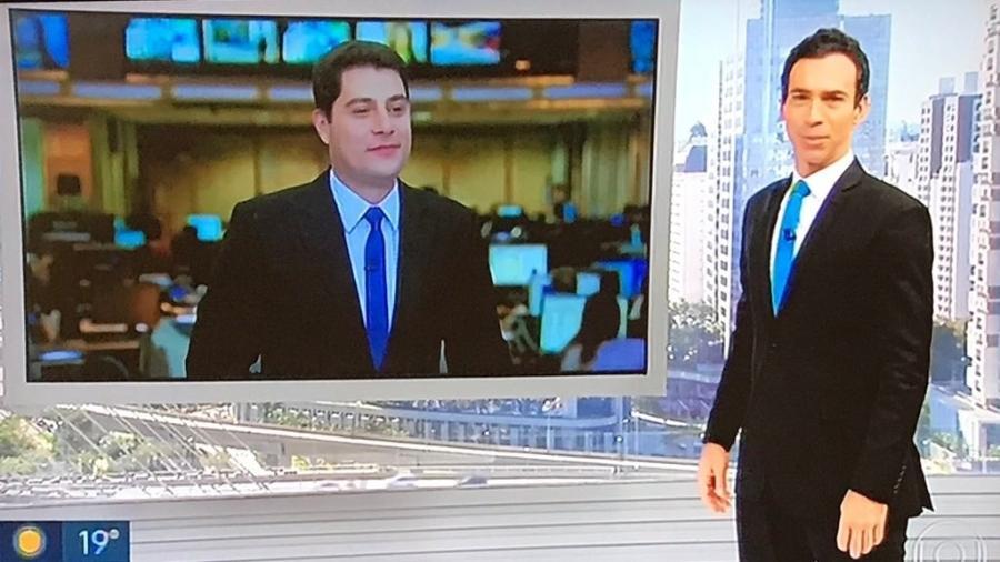 """César Tralli e Evaristo Costa apareceram com terno e gravata iguais no """"SP1"""" - Reprodução/TV Globo"""