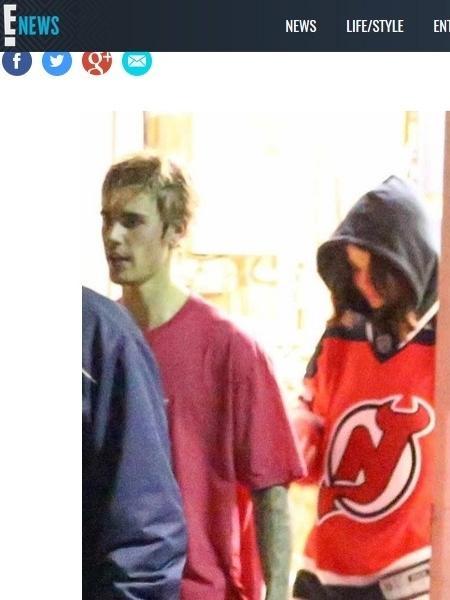 Justin Bieber e Selena Gomez deixam partida de hóquei juntinhos - Reprodução/E!online