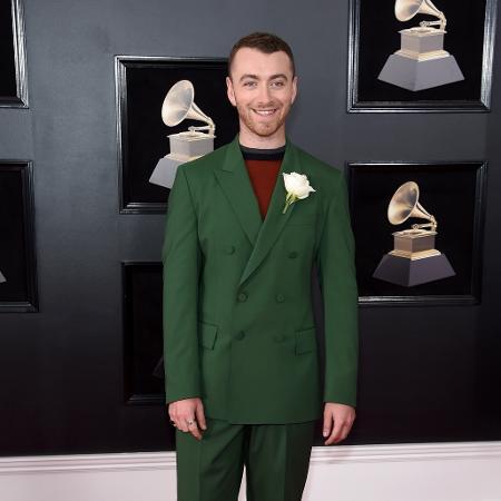 Sam Smith no tapete vermelho do Grammy 2018 - Getty Images