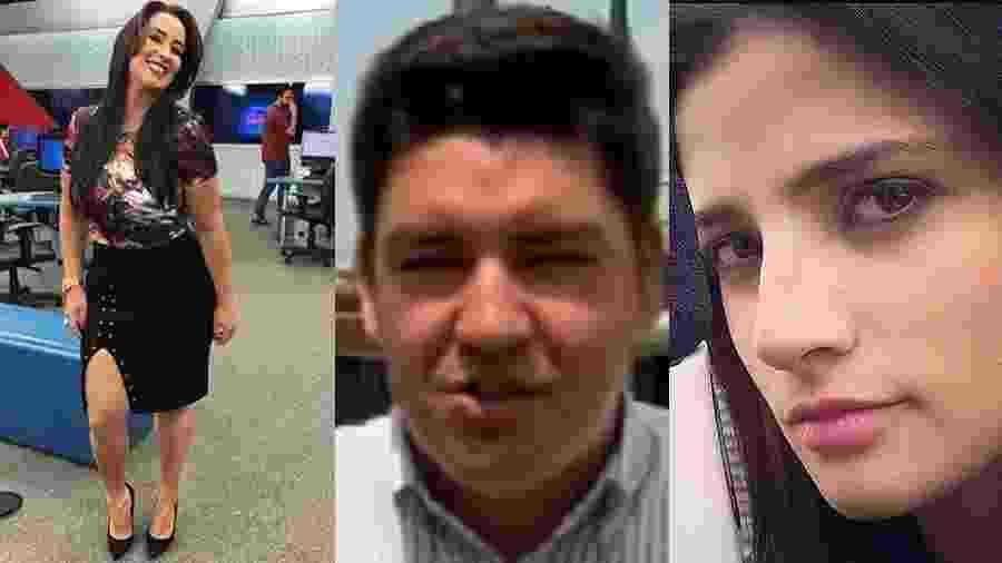 """Fabíola Gadelha, Bruno """"Peruka"""" e Lilliany Nascimento estarão no jornalismo da Record a partir de 5 de março - Montagem UOL"""