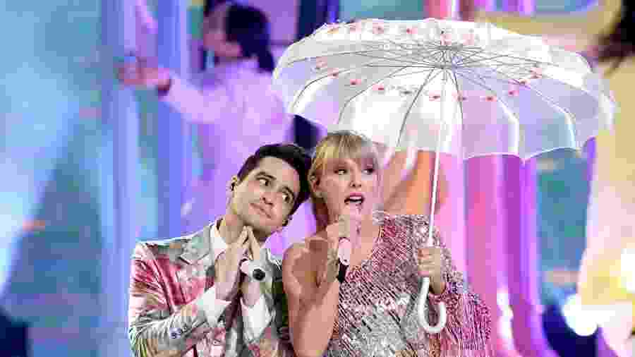 "Taylor Swift e Brendon Urie apresentam ""Me!"" na abertura do Billboard Music Awards 2019, em Las Vegas - Kevin Winter/Getty Images for dcp"