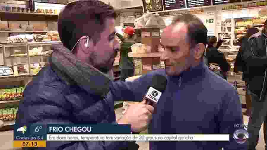 Homem manda abraço... para todo mundo da Record - Reprodução/RBS/TV Globo