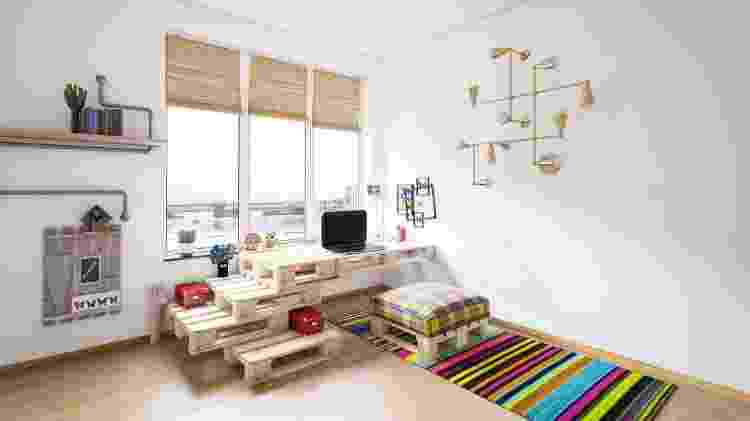 Home office com pallets - Getty Images/iStockphotos - Getty Images/iStockphotos